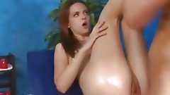 Dude massages green body of younger babe making her turned on so much from it