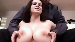 Seductive pale brunette with huge tits in sexy lingerie gets nailed