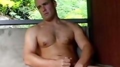 Passionate gay stud jerking off outdoors