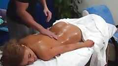 Stud massages glamorous body of enormously uncovered lass