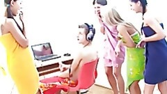 Four fascinating cuties in towels discover gentleman jacking off dick and give a decision to have group fucking