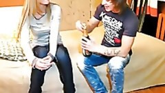 Dude drinks champagne with darling wishing to convince her to have dear sexual act with him