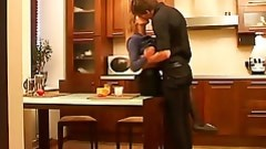 Sexy chick fucking action in kitchen