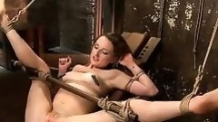 fastened up floozy gets a sex toy on her cunt