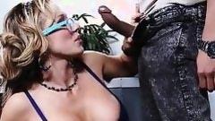 fairy milf in glasses jerks off pecker