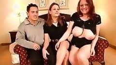 two men plus one female swing with a busty whore