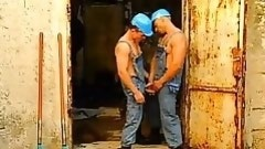 homo construction workers oral sex always other off