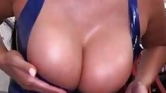 Latina Pulls Out Her Big Tits In Mechanic Shop